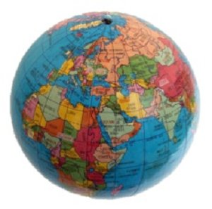 Colorful world globe showing nations