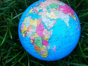 Colorful Globe showing nations and continents